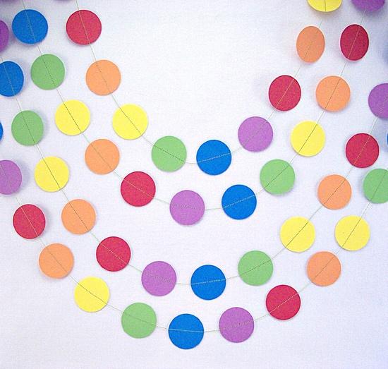 Rainbows Party Garland 30ft.  ///////  Birthday Party Decor // Classroom Decor // Playroom Decor //. $33.00, via Etsy.