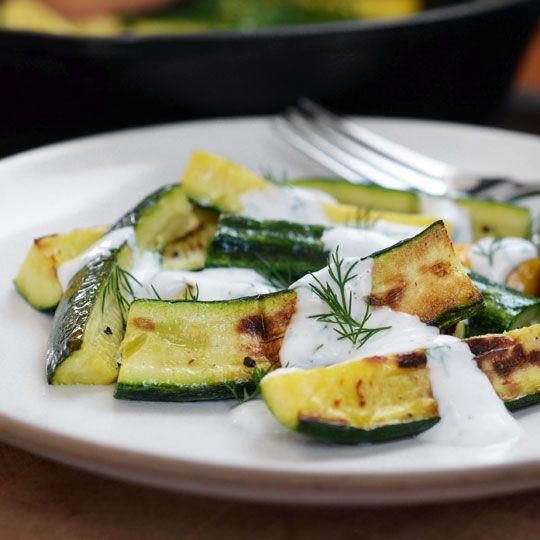 Zucchini with Yogurt-Dill Sauce by thekitchn #Healthy #Zucchini #Yogurt #Dill #thekitchn