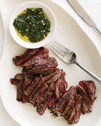 Mark Bittman's Grilled Skirt Steak with Chimichurri Sauce // More Steak Recipes: www.foodandwine.c... #foodandwine