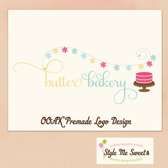 Premade Hand Drawn OOAK Logo  Cake and by stylemesweetdesign, $75.00