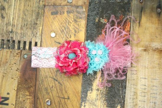 Chiffon flower n heart handmade headband w by AdoraBowsByLeilaHale, $11.50