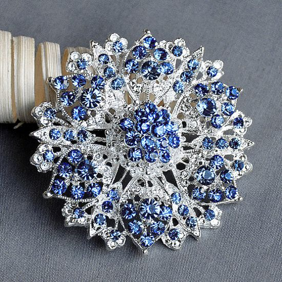 Light Blue Rhinestone Brooch Crystal Wedding Bridal Button Brooch Bouquet Invitation Cake Decoration Hair Comb Shoe Clip BR221