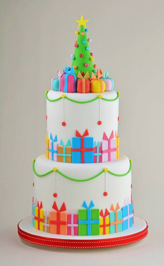 Colorful Christmas Parcels Tiered Holiday Cake