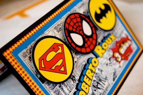 Super Heroes Birthday Party Invitation Spiderman by anaderoux. $3.00, via Etsy.