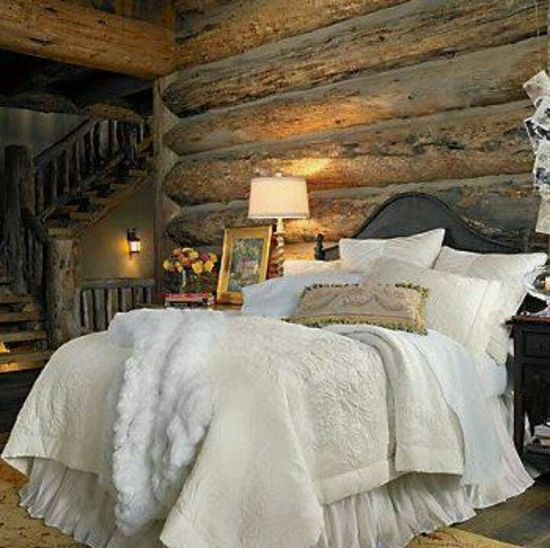 Rustic bedroom. Love the bedding