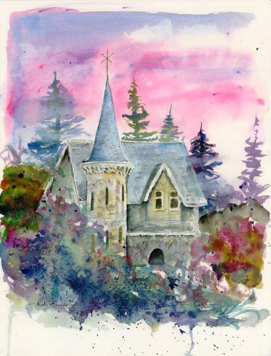 Castle Tower 12 x 16 Original watercolor by MilkandHoneyBread, $170.00