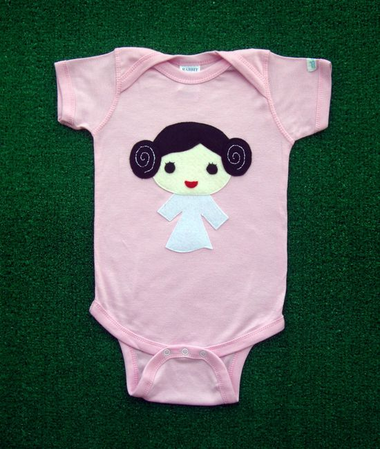 Sewing Wars - Princess Layer Baby Girl Infant Bodysuit and Bib Combo. $33.00, via Etsy.