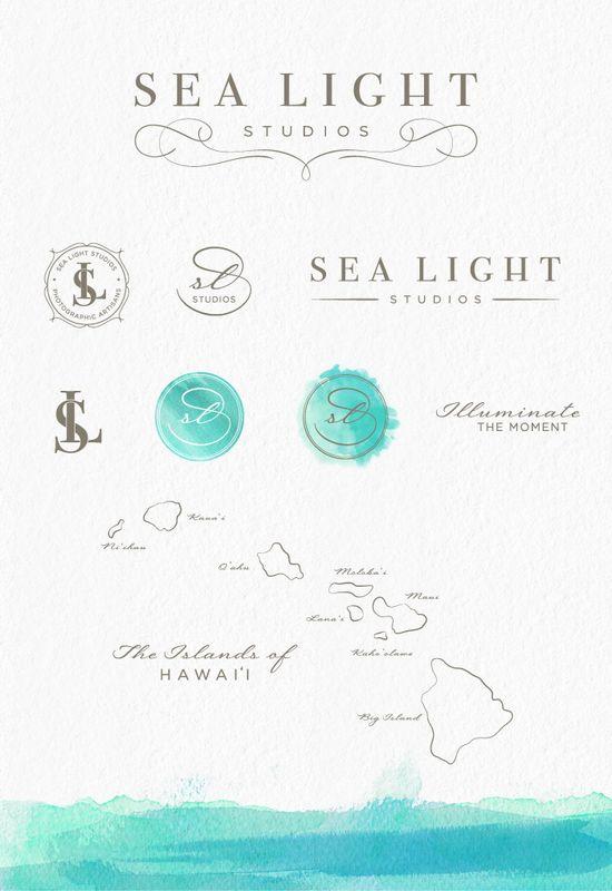 Sea Light Studios Photography Branding and Identity Design - Custom Logo Design, Watermarks, Brand Graphics, Watercolor