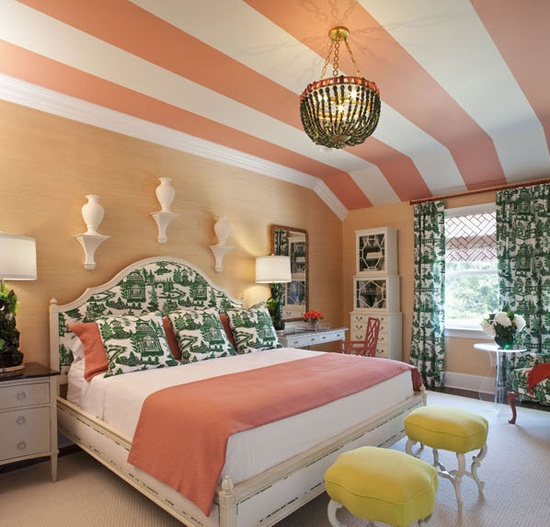 Emerald and peach bedroom, not fond of that green (although another green & different pattern would work) with the peach. Not crazy about the stripes on the ceiling, but would like the dark melon color in a solid.