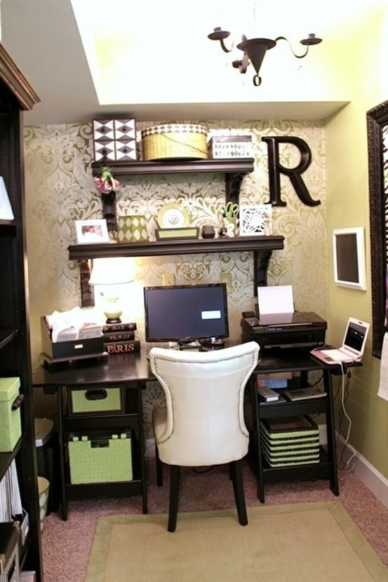 Office idea, love the wall paper