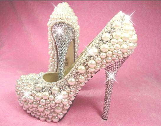 Pearl & diamond bridal shoes