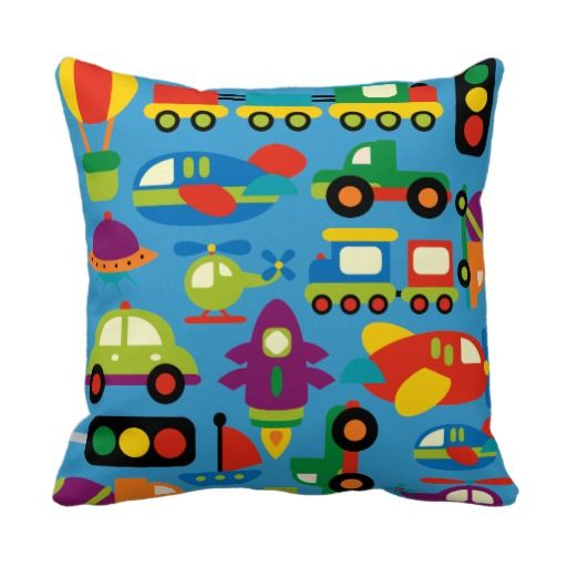 Boy's Bedroom Decor Transportation Vehicles Pillow