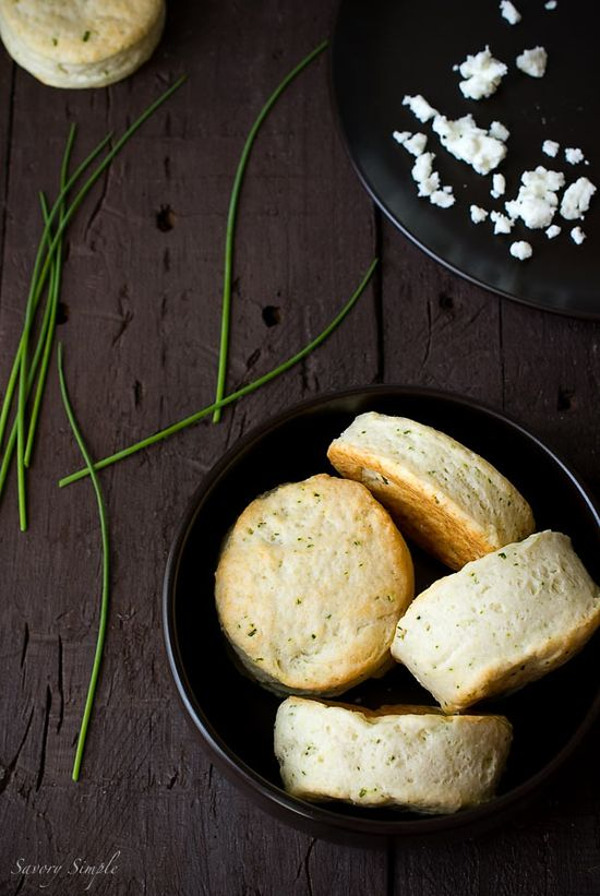 Goat Cheese and Chive Biscuits ~ Savory Simple ~ www.savorysimple.net