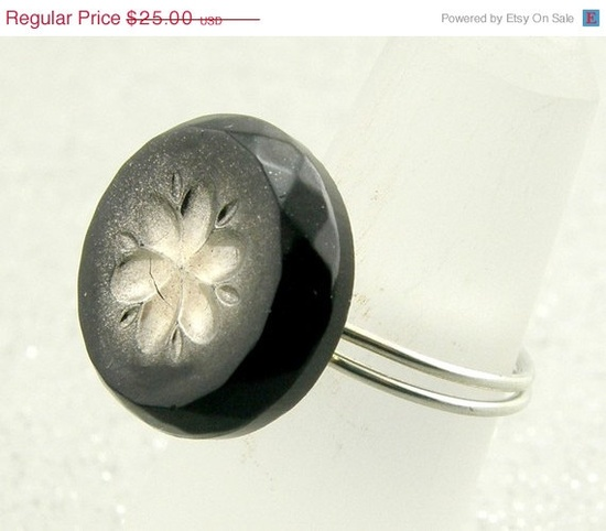 Black and Silver Czech Glass Button Ring by TrinketsNWhatnots, $10.00