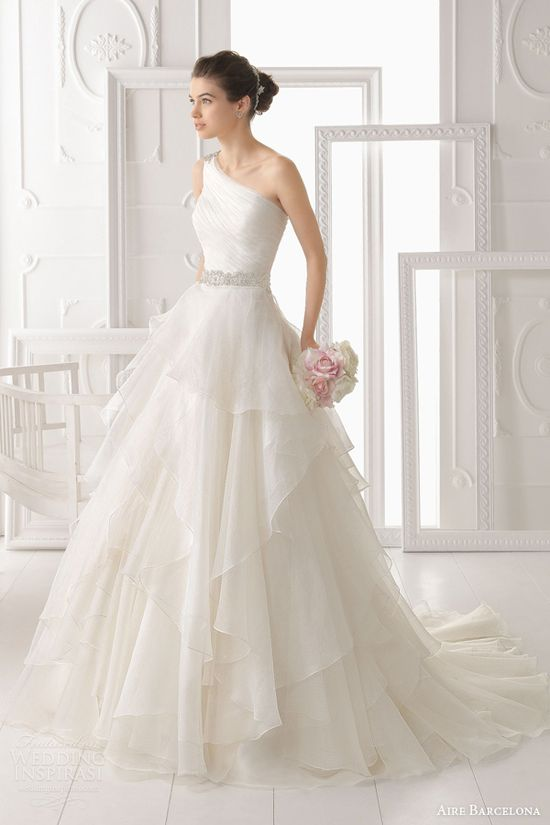 aire barcelona 2014 wedding dresses optimo one sholder gown tiered skirt
