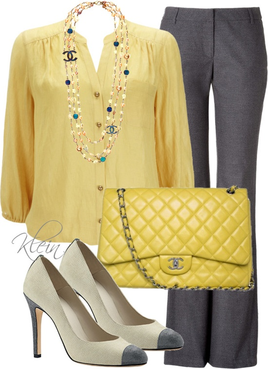 """Yellow and Grey"" by stacy-klein on Polyvore"