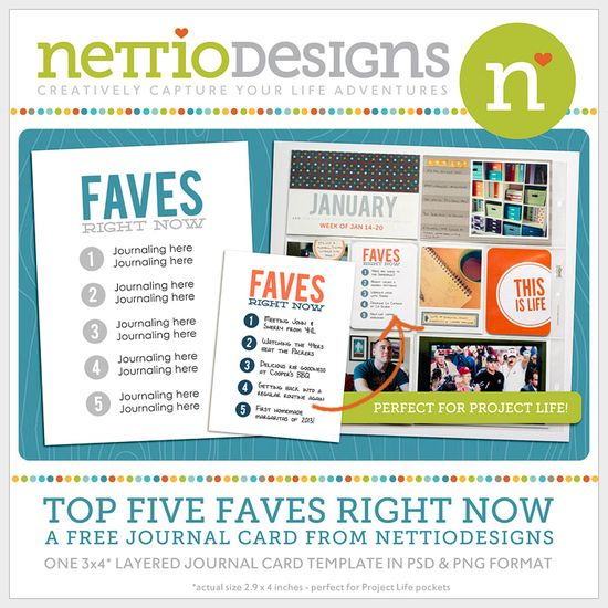 Free Faves 3x4 journal card from Nettio Designs