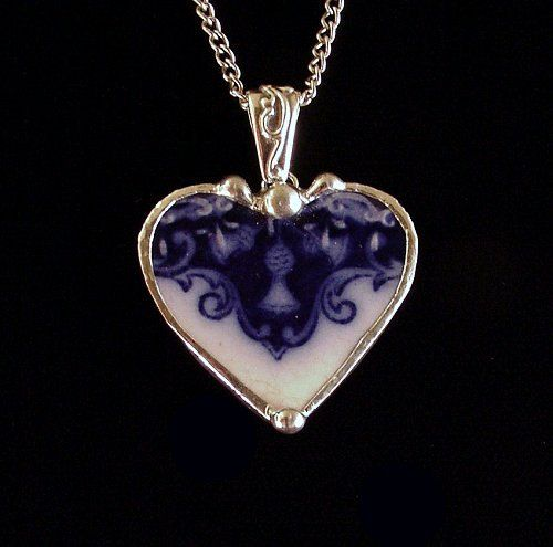 """Antique 1880s flow blue thistle broken china jewelry heart pendant necklace. $48.00, via Etsy. // GORGEOUS PIECES, and I particularly appreciuate this:  """"All of my broken china jewelry is made from vintage and antique plates that are previously damaged or broken due to age and or wear. I do not use any vintage china for my jewelry that is not already damaged in some way."""""""