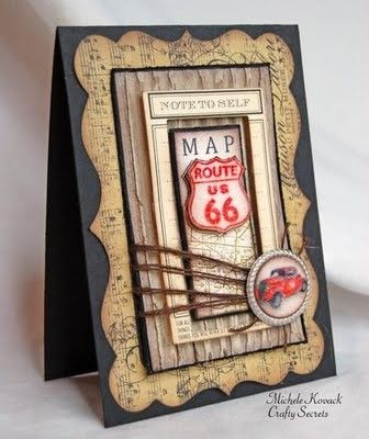 #papercraft #card Route 66 handmade card