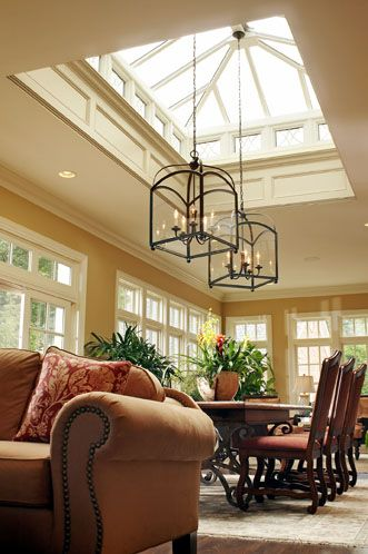 "New Albany, Ohio.  Family Room addition with ""Lantern"" style skylight by remodeled J.S. Brown & Co.  Interior Design and Decorating by Carolyn Rand"