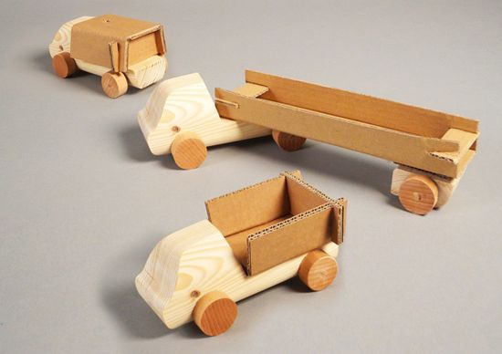 Cardboard truck by Robrecht Lambrechts, via Behance  This is a solution for packaging waste. The wooden truck is the product and kids have to make the trailer themselves. Kids should play more often with cardboards!