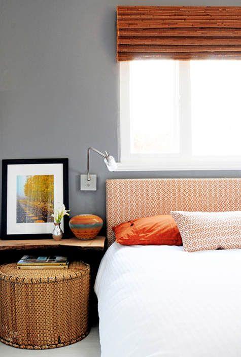 Orange and grey bedroom