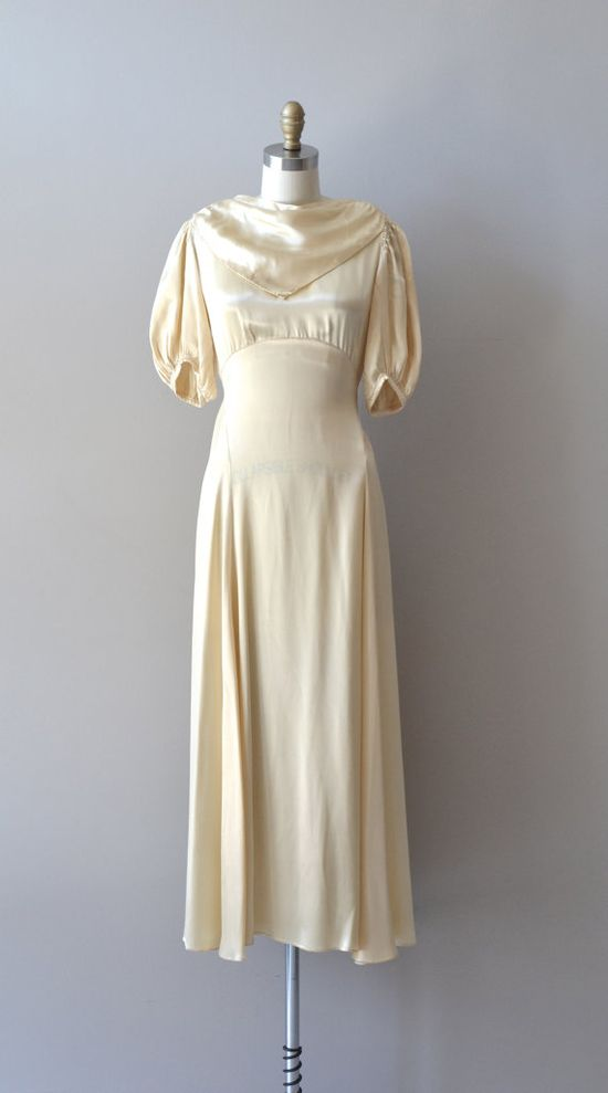 1930s wedding dress / 30s dress / bias silk / by DearGolden