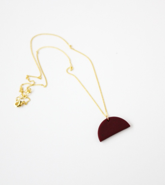 plum half circle necklace by AMM Jewelry
