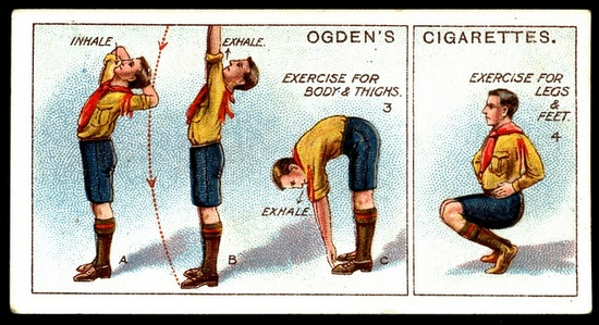 """Cigarette Card - Boy Scouts ~ Physical Exercises         Ogden's Cigarettes """"Boy Scouts 5th series"""" (50 cards issued in 1914) #206 Physical Exercises"""