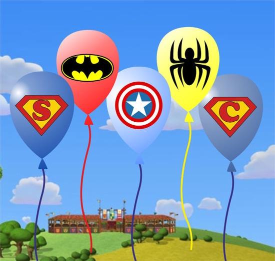 SUPER HEROES Birthday Party Balloon Sticker  Goody by GELATODESIGN, $6.00