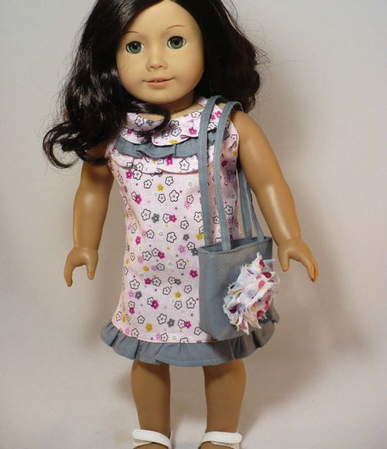 American Girl 18 inch doll dress  pink and gray by WhoaItsMe, $13.00