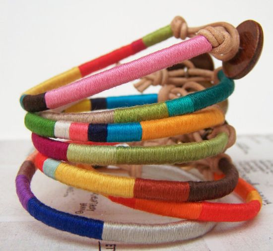 Cooper bracelet - textile, leather, button, handmade jewelry