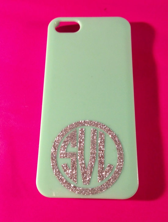 "Glitter Monogram in Circle for iPhone 2"". $3.50, via Etsy."