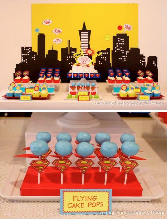 Superhero superman themed birthday party via Kara's Party Ideas www.KarasPartyIde...