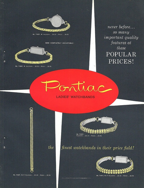 1950s catalog page of Pontiac Watch styles. #vintage #1950s #jewelry #watches #accessories