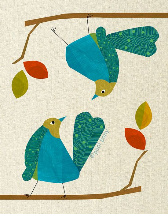 blue love birds  mid century design art print by by poolponydesign