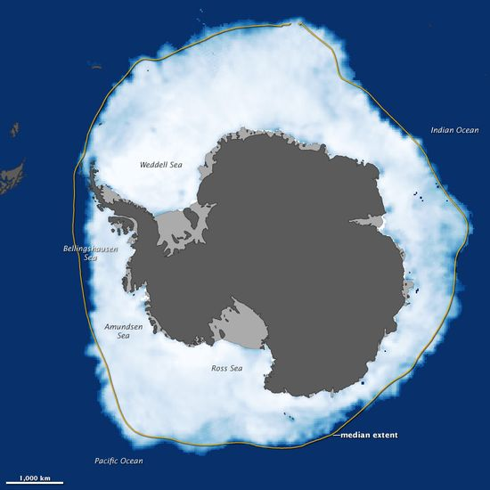 Antarctic Sea Ice Reaches New Maximum Extent by earthobservatory....: Two weeks after a new record was set in the Arctic Ocean for the least amount of sea ice coverage in the satellite record, the ice surrounding Antarctica reached its annual winter maximum—and set a record for a new high. Sea ice extended over 7.51 million square miles in 2012. The previous record of 7.49 million square miles was set in 2006. #Antarctica #Sea_Ice #NASA