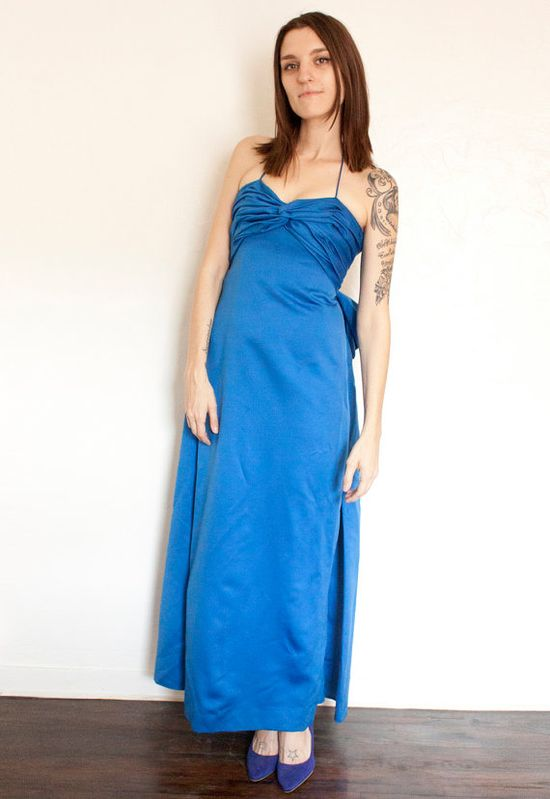 Black 1980s Blue Victor Costa Party Dress/1980s Blue by belljarsf, $238.00