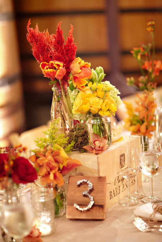 Autumn Centerpiece and Table Number Inspiration