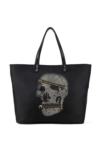 """Zippered """"Skull"""" Black Bag  #romwe.com"""