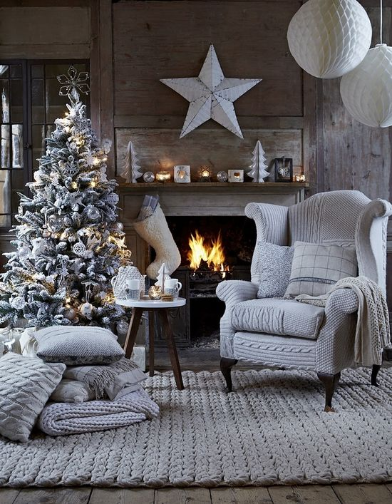 Christmas tree and chimney, knitted pillow cases and cushions and rug