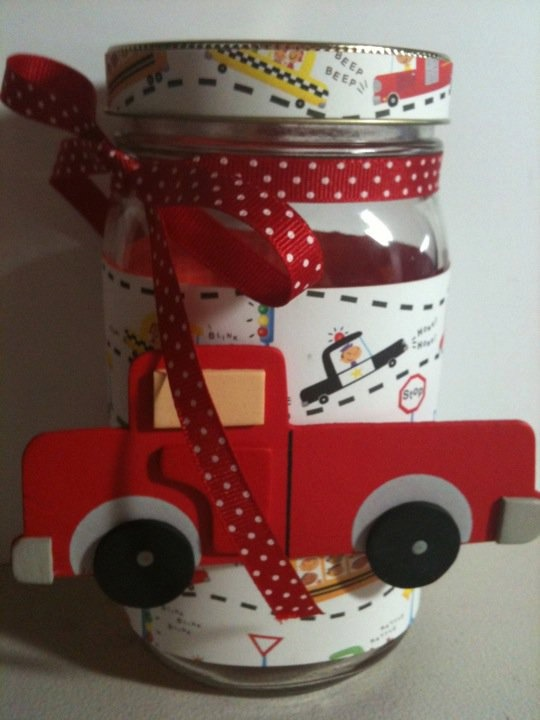 Cute Truck Boy Gift Jar. Great idea and easy to make!