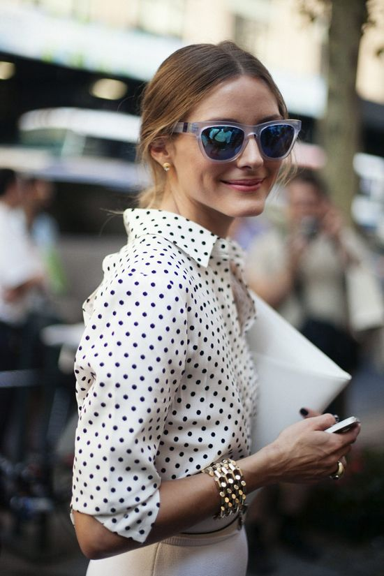 spotted polka dot top on olivia palermo