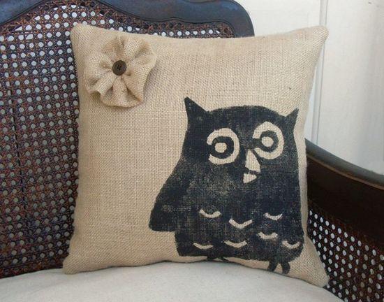 burlap owl pillow.