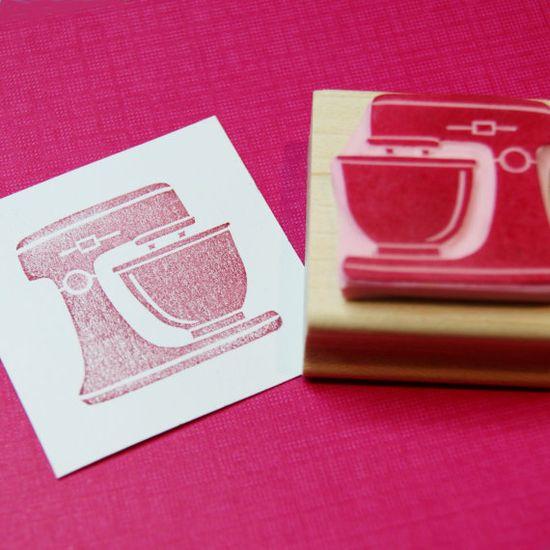 Kitchen Mixer Stamp - Hand Carved Rubber Stamp