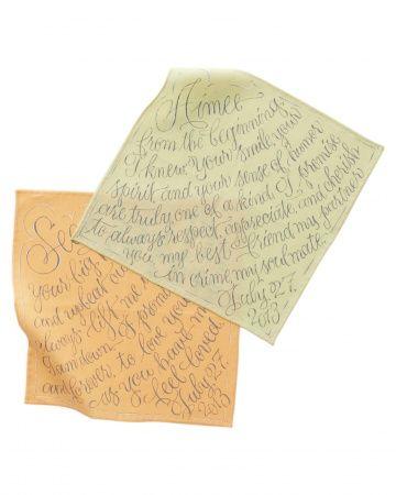 Genius wedding DIY: Write your vows in permanent paint on a keepsake fabric hankie.