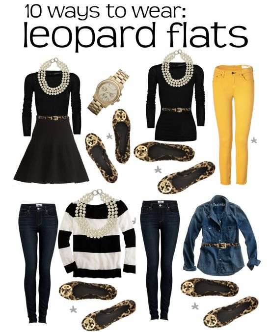 4 outfits with leopard flats + 6 more @ www.colormecourtn...