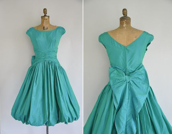 vintage 1950s cupcake party dress / 50s green iridescent party dress / 1950s 50s vintage bow dress on Etsy, $316.88 AUD