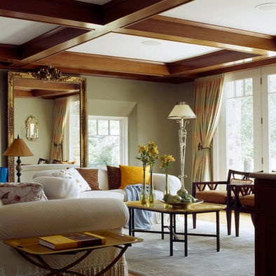 olive walls with wood trim