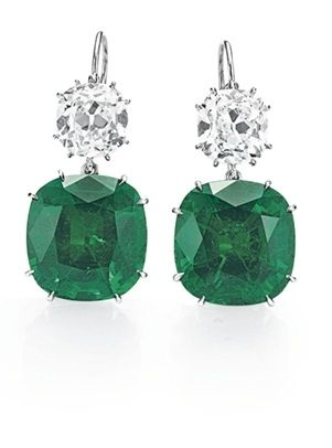 Emerald And Diamond Ear Pendants